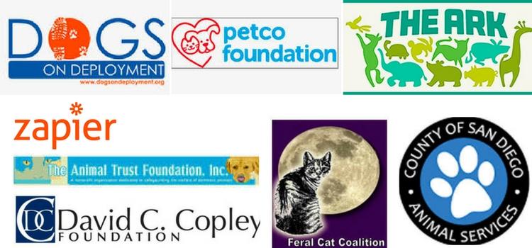 SNAP Partner Logos – spay neuter action project san diego – zapier – petco foundation- the ark la jolla – san diego
